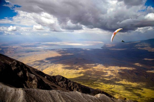 Paragliders paragliding in Tanzania